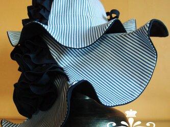 親子ハット(フレアフリル女優帽・子供フレアフリル)ネイビー×ネイビーストライプの画像