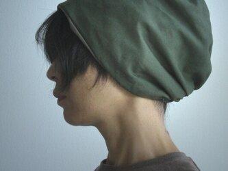 ターバンな帽子 モスグリーン+カーキ 送料無料の画像