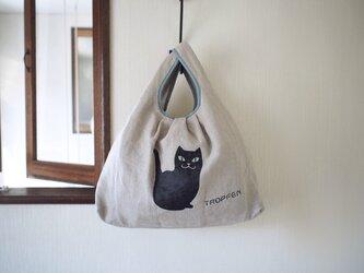 買い物バッグ / エコバッグ 〜 ネコ / 麻 キャンバスの画像