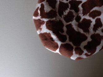 ◆ sale ◆ ベレー帽 -  きりん模様 起毛コットン -の画像