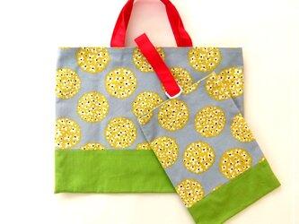 レッスンバッグ&シューズバッグ  丸い花&グリーン 『特別価格品・送料無料』の画像