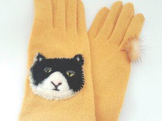 目ガ死ンデル手袋:ネコ1号【タッチパネル対応】※送料無料の画像