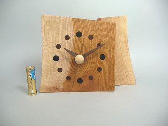 欅(ケヤキ)の2枚重ねのお木時計の画像