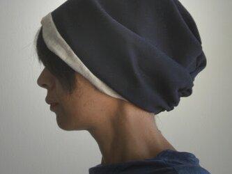 ターバンな帽子 ナチュラル+ネイビー 送料無料の画像