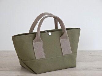 帆布 トート・大人カラーの ミニトート カーキ キャンバス バッグの画像