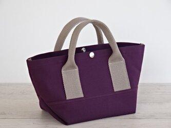 帆布 トート・大人カラーの ミニトート パープル キャンバス バッグの画像