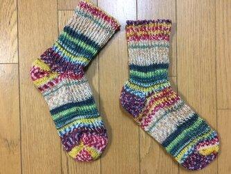 手編み靴下(Opal 2104)の画像