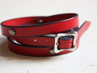 革紐のブレスレット [M] (赤色)の画像