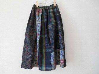 黒大島紬や紬のパッチワークスカートの画像