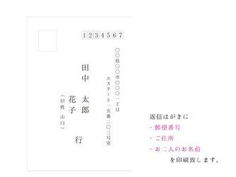 招待状オプション(返信はがきへの宛名印刷 追加)の画像