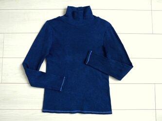 ◆100%自然素材 天然灰汁発酵建て 本藍染◆ オーガニックコットン(中空糸) タートルネック トップスの画像