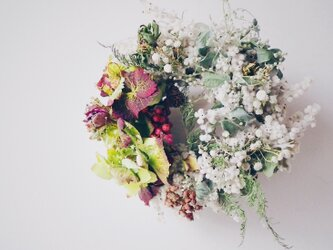 白とグリーンと紫陽花のリースの画像