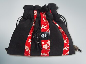 赤と黒の古布遊び 巾着(房飾り 黒)【1点もの】の画像