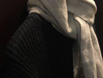 手織りロングマフラー(白緑/びゃくろく)の画像