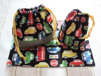 【受注製作】お弁当袋&コップ袋&ランチマットset*カラフルCAR黒の画像