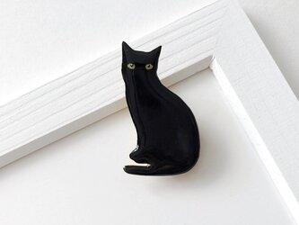 黒猫 オスワリ ブローチ(ボックス入)の画像