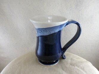 陶器マグカップ・ジャンボ(青+白)の画像