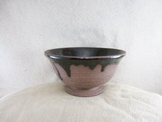 陶器ご飯茶碗(やや大)赤土+黒天目の画像