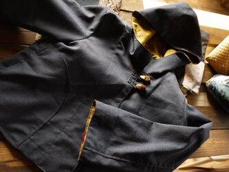 男性ウール着物地パーカーの画像