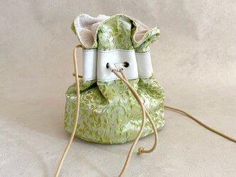 爽やかグリーン 巾着バッグ ファブリック グリーン ボタニカル & 牛革 ホワイトの画像