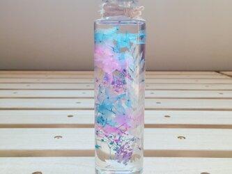 【ハーバリウム】プレゼント、インテリアにご利用ください♪【ブルー・ピンクフラワー】の画像