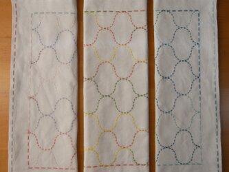 刺し子の花ふきん3枚セットの画像