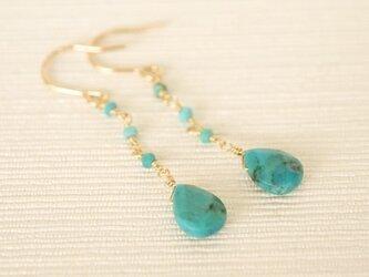 14KGF Turquoise Drop Earringsの画像