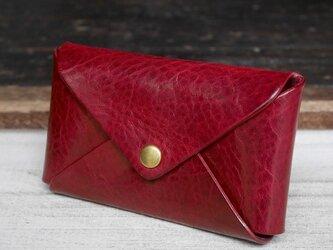 【大容量】1枚革カードケース(Red)の画像