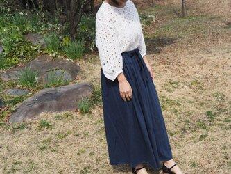 コットンニットスカート ネイビーの画像