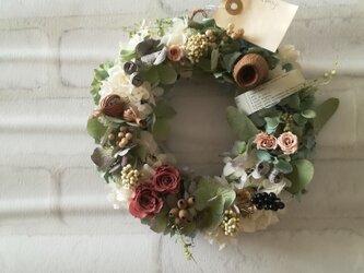 【送料無料】ピンクローズのアンティーク wreathの画像