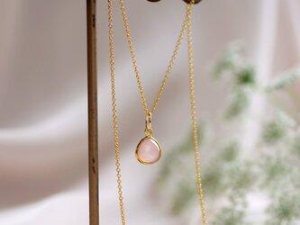 桜色カルセドニーのマロン枠留めネックレス ~Cerisierの画像