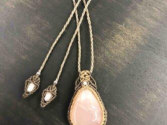 568-桜色、ローズクォーツのネックレスの画像