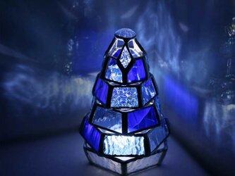 【小さなもみの木ランプ/Blue Collection】ステンドグラス・ミニランプ(LEDライト付)の画像