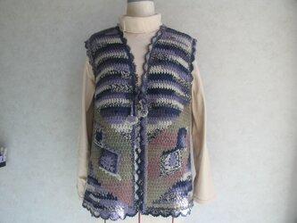 かぎ針編みのおもしろ模様のベストの画像