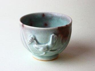 海の色と鳥の湯飲み NO.2 /青磁 /釉裏紅 /陶芸 /茶器 /湯呑 /celadon /glaze / blueの画像