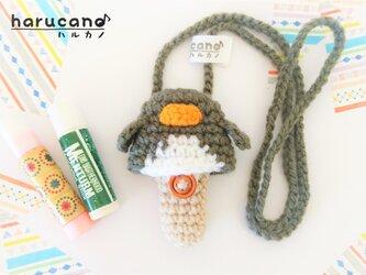 リップクリームケース(毛糸)ペンギン【グレー】首掛け用の画像