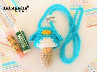 リップクリームケース(毛糸)ペンギン【ブルー】首掛け用の画像