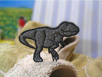 ★人気の恐竜テラノサウルス/岩肌柄★ワッペン8cmの画像