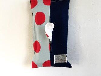 赤大玉ドットとデニムのティッシュカバーケースの画像