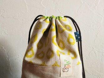 SP-6黄色のしずくのきんちゃく袋ピンク*コップ用巾着*かばん整理にもの画像