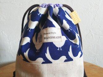 SP-8紺に白いとりきんちゃく袋ピンク*コップ用巾着*かばん整理にもの画像