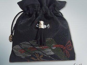 黒絵扇巾着(房飾り 黒)【1点もの】の画像