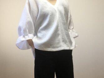 リネンふんわりドルマンブラウス(ホワイト)の画像