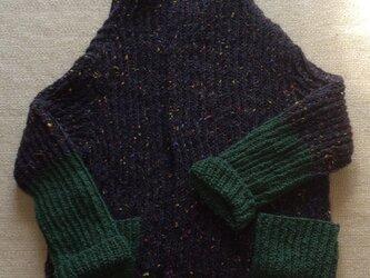 在庫処分 値下げ  ツィード風イギリスゴム編みのニットジャケットの画像