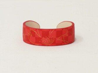 革 バングル 手纏「tamaki」 line 桜 red 受注生産の画像