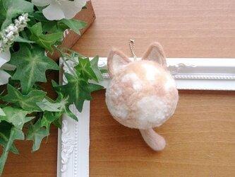 ファーポンポン(ネコ:ベージュMIX) ねこ 猫 にゃんこ  ファーチャームの画像