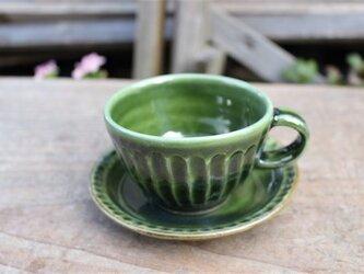 グリーンの器 カップとソーサ[18Fev-12]《釉薬》の画像