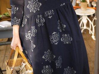 藍染伊予絣8分袖ワンピースの画像