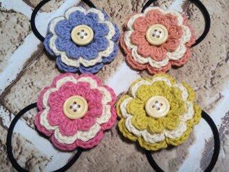 135**かわいいお花のヘアゴムの画像