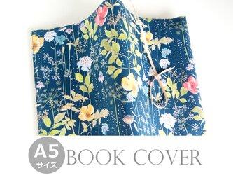 リバティ A5ブックカバー イルマ ネイビー 花柄の画像